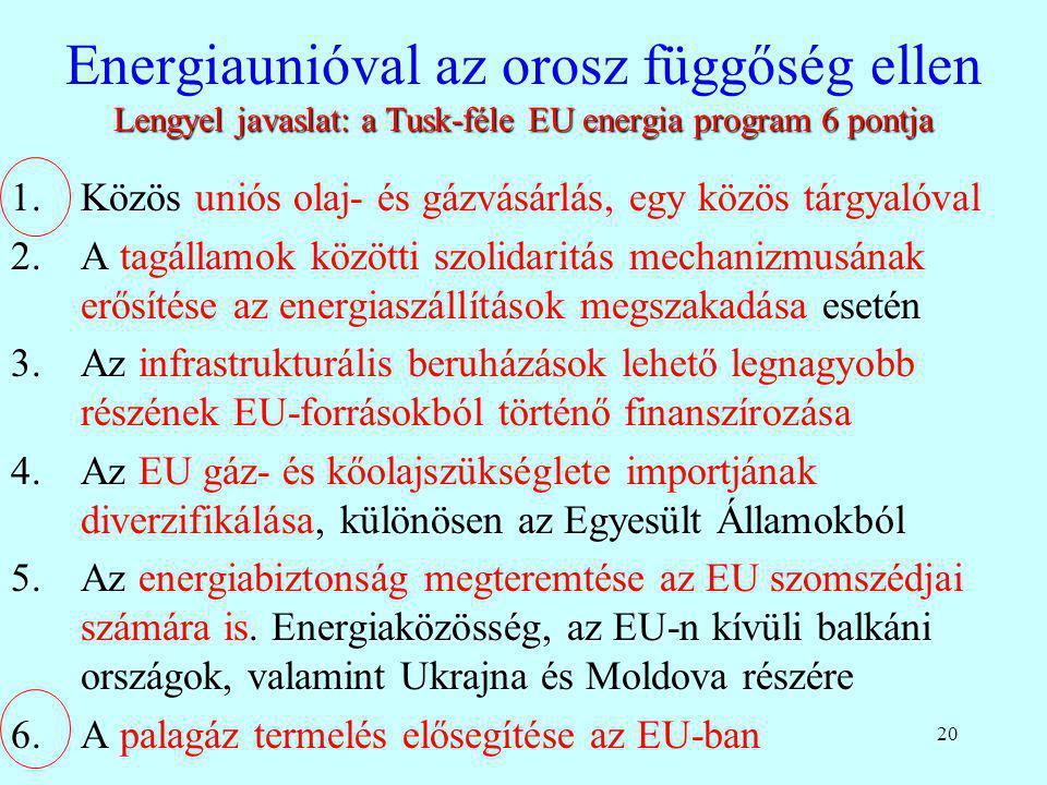 20 Lengyel javaslat: a Tusk-féle EU energia program 6 pontja Energiaunióval az orosz függőség ellen Lengyel javaslat: a Tusk-féle EU energia program 6
