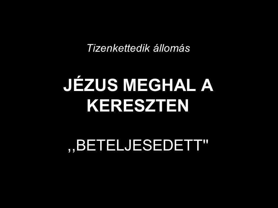 Tizenkettedik állomás JÉZUS MEGHAL A KERESZTEN,,BETELJESEDETT
