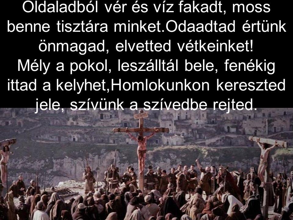 Oldaladból vér és víz fakadt, moss benne tisztára minket.Odaadtad értünk önmagad, elvetted vétkeinket.
