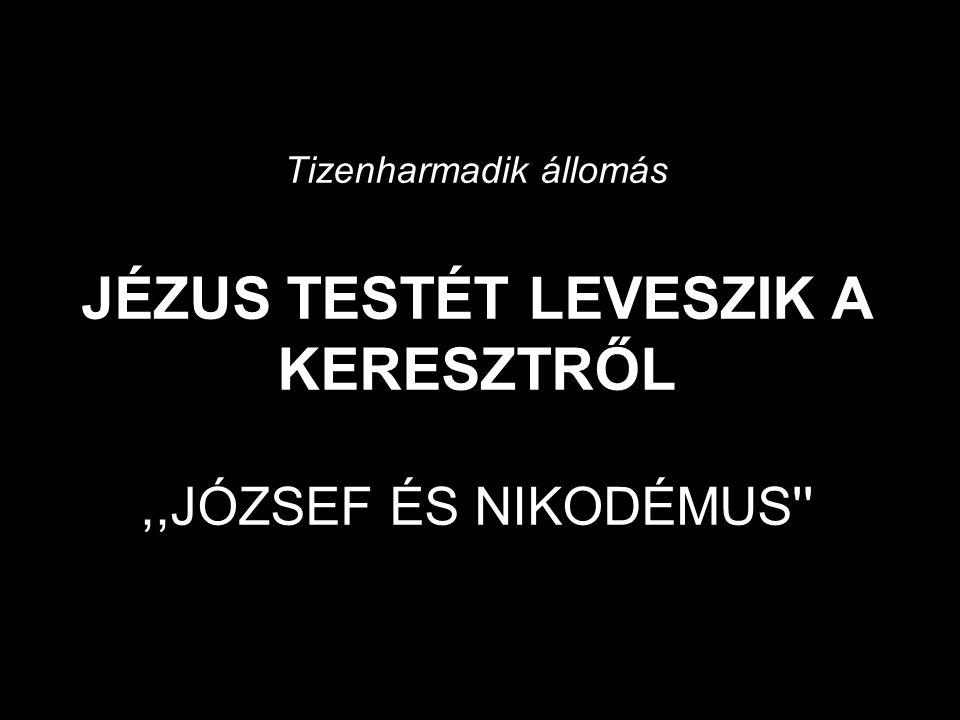 Tizenharmadik állomás JÉZUS TESTÉT LEVESZIK A KERESZTRŐL,,JÓZSEF ÉS NIKODÉMUS