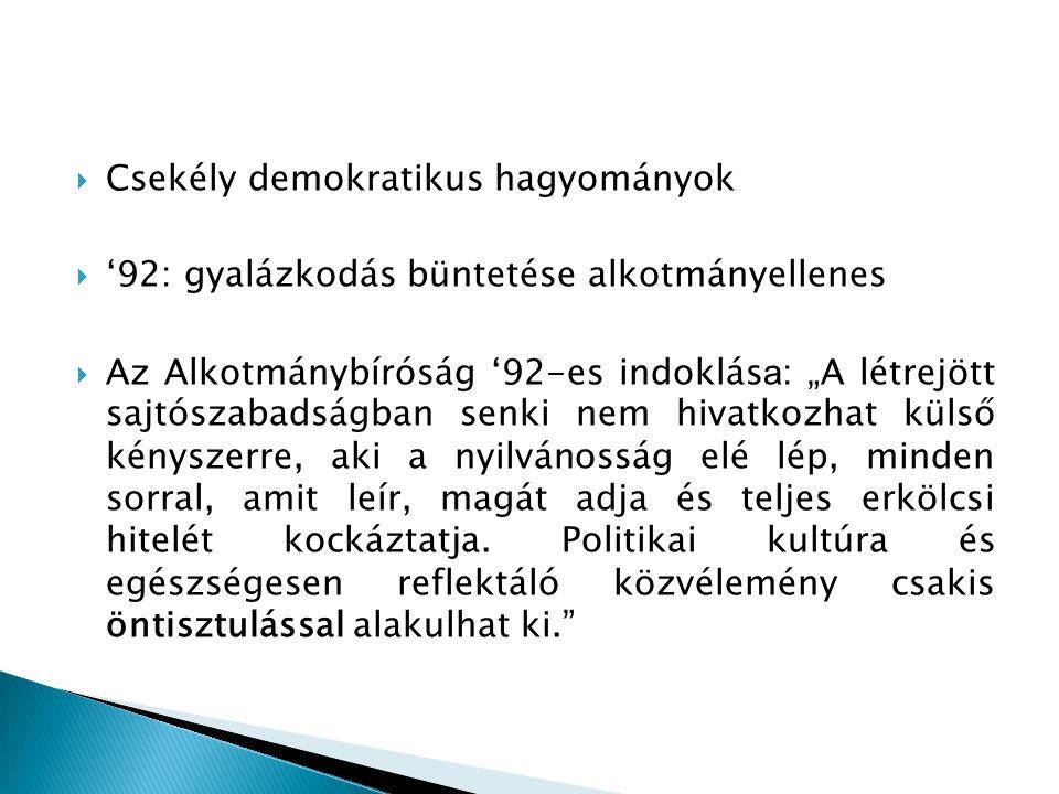 """ Csekély demokratikus hagyományok  '92: gyalázkodás büntetése alkotmányellenes  Az Alkotmánybíróság '92-es indoklás a : """"A létrejött sajtószabadság"""