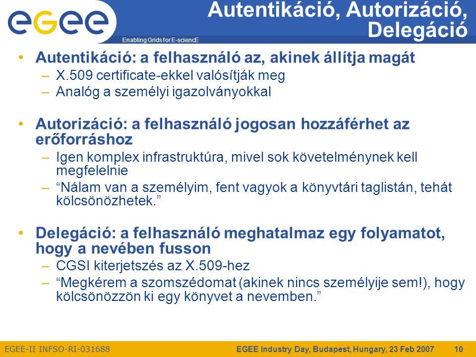 Enabling Grids for E-sciencE EGEE-II INFSO-RI-031688 EGEE Industry Day, Budapest, Hungary, 23 Feb 2007 10 Autentikáció, Autorizáció, Delegáció Autentikáció: a felhasználó az, akinek állítja magát –X.509 certificate-ekkel valósítják meg –Analóg a személyi igazolványokkal Autorizáció: a felhasználó jogosan hozzáférhet az erőforráshoz –Igen komplex infrastruktúra, mivel sok követelménynek kell megfelelnie – Nálam van a személyim, fent vagyok a könyvtári taglistán, tehát kölcsönözhetek. Delegáció: a felhasználó meghatalmaz egy folyamatot, hogy a nevében fusson –CGSI kiterjetszés az X.509-hez – Megkérem a szomszédomat (akinek nincs személyije sem!), hogy kölcsönözzön ki egy könyvet a nevemben.