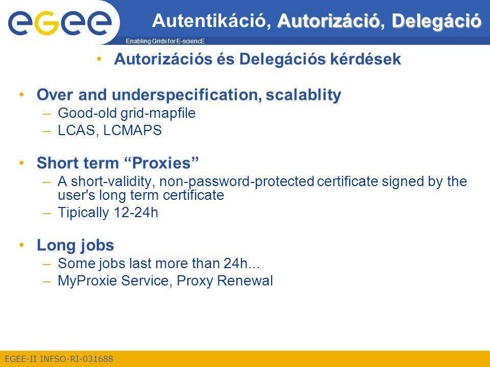 Enabling Grids for E-sciencE EGEE-II INFSO-RI-031688 AutorizációDelegáció Autentikáció, Autorizáció, Delegáció Autorizációs és Delegációs kérdések Ove