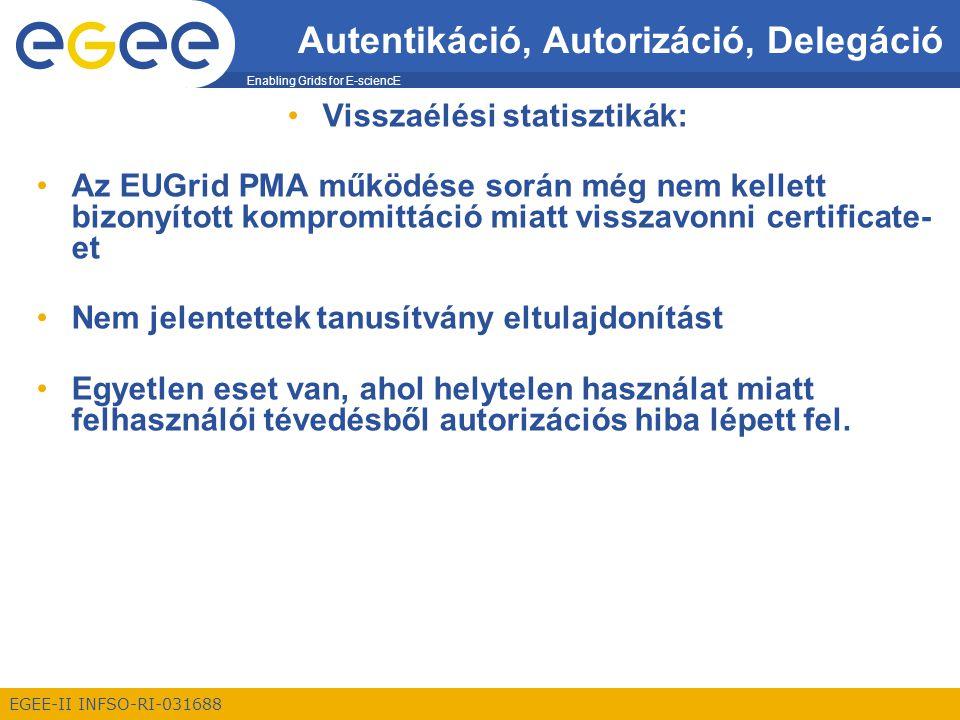 Enabling Grids for E-sciencE EGEE-II INFSO-RI-031688 Autentikáció, Autorizáció, Delegáció Visszaélési statisztikák: Az EUGrid PMA működése során még nem kellett bizonyított kompromittáció miatt visszavonni certificate- et Nem jelentettek tanusítvány eltulajdonítást Egyetlen eset van, ahol helytelen használat miatt felhasználói tévedésből autorizációs hiba lépett fel.