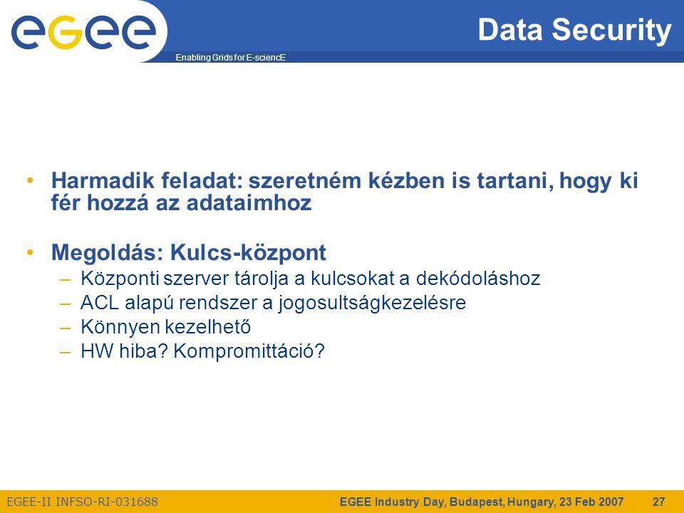 Enabling Grids for E-sciencE EGEE-II INFSO-RI-031688 EGEE Industry Day, Budapest, Hungary, 23 Feb 2007 27 Data Security Harmadik feladat: szeretném kézben is tartani, hogy ki fér hozzá az adataimhoz Megoldás: Kulcs-központ –Központi szerver tárolja a kulcsokat a dekódoláshoz –ACL alapú rendszer a jogosultságkezelésre –Könnyen kezelhető –HW hiba.