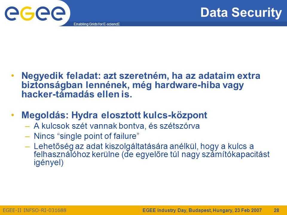 Enabling Grids for E-sciencE EGEE-II INFSO-RI-031688 EGEE Industry Day, Budapest, Hungary, 23 Feb 2007 28 Data Security Negyedik feladat: azt szeretném, ha az adataim extra biztonságban lennének, még hardware-hiba vagy hacker-támadás ellen is.