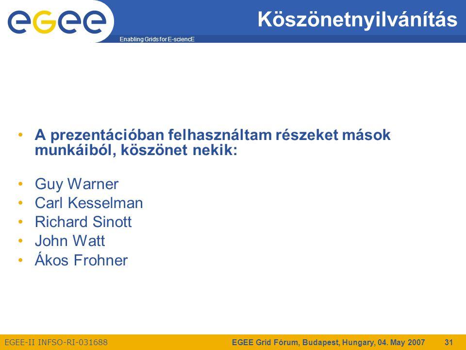 Enabling Grids for E-sciencE EGEE-II INFSO-RI-031688 EGEE Grid Fórum, Budapest, Hungary, 04. May 2007 31 Köszönetnyilvánítás A prezentációban felhaszn