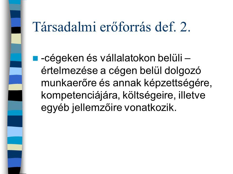 Társadalmi erőforrás def.2.
