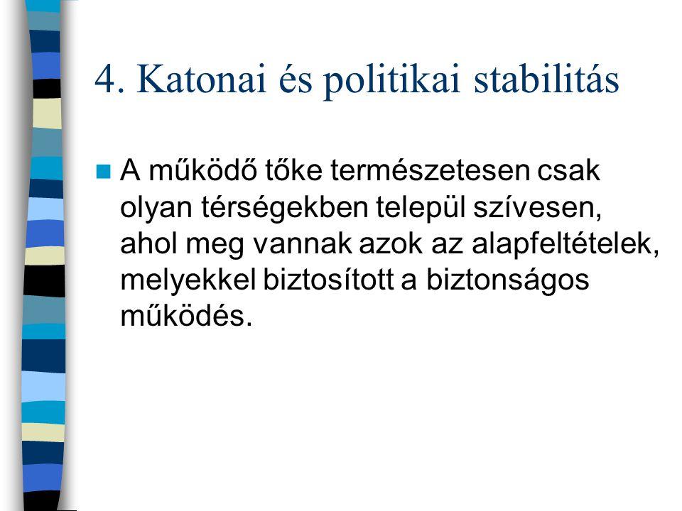 4. Katonai és politikai stabilitás A működő tőke természetesen csak olyan térségekben települ szívesen, ahol meg vannak azok az alapfeltételek, melyek