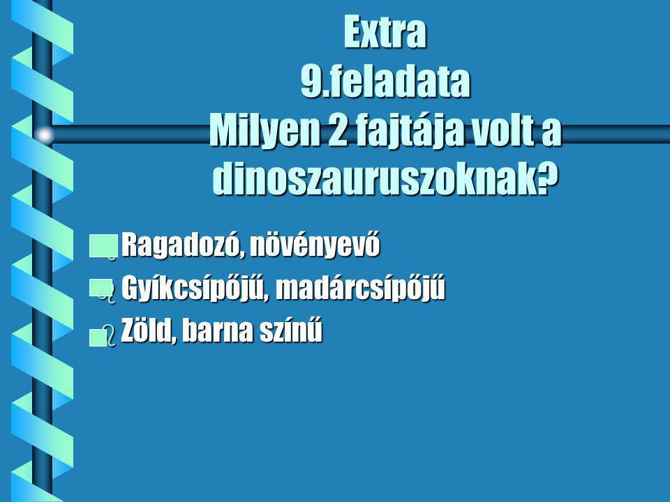Extra 9.feladata Milyen 2 fajtája volt a dinoszauruszoknak.