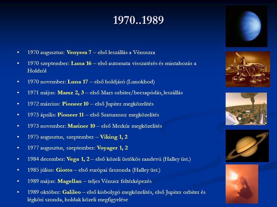 1970..1989 1970 augusztus: Venyera 7 – első leszállás a Vénuszra 1970 szeptember: Luna 16 – első automata visszatérés és mintahozás a Holdról 1970 nov