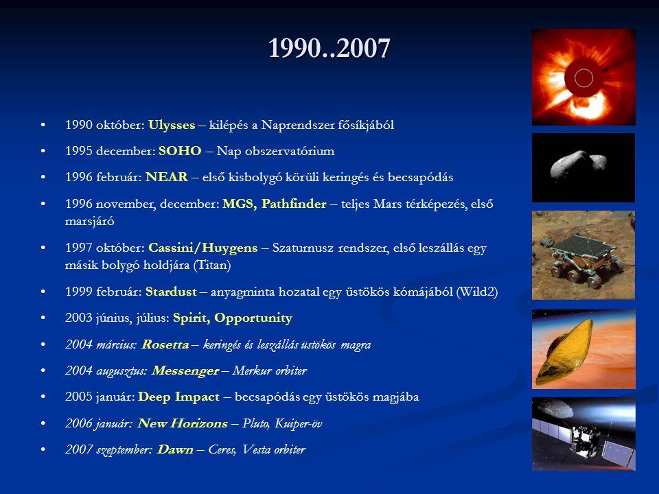 1990..2007 1990 október: Ulysses – kilépés a Naprendszer fősíkjából 1995 december: SOHO – Nap obszervatórium 1996 február: NEAR – első kisbolygó körül