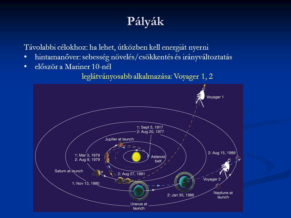 Pályák Távolabbi célokhoz: ha lehet, útközben kell energiát nyerni hintamanőver: sebesség növelés/csökkentés és irányváltoztatás először a Mariner 10-