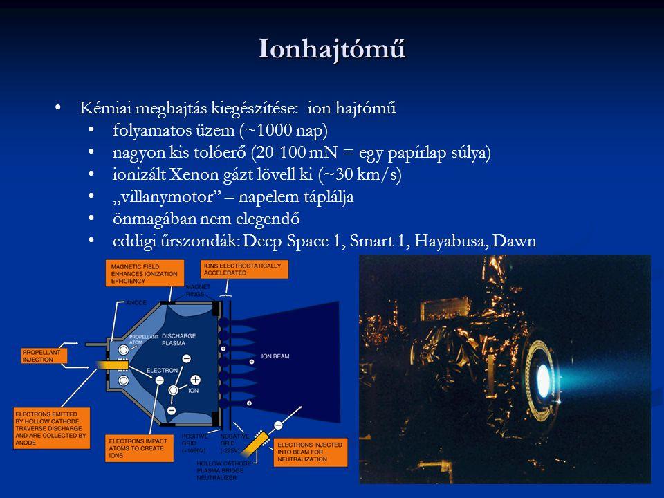Ionhajtómű Kémiai meghajtás kiegészítése: ion hajtómű folyamatos üzem (~1000 nap) nagyon kis tolóerő (20-100 mN = egy papírlap súlya) ionizált Xenon g