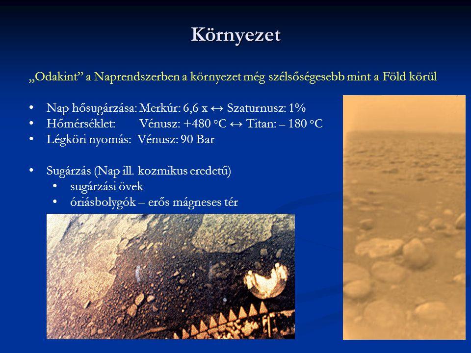 """Környezet """"Odakint"""" a Naprendszerben a környezet még szélsőségesebb mint a Föld körül Nap hősugárzása: Merkúr: 6,6 x ↔ Szaturnusz: 1% Hőmérséklet: Vén"""