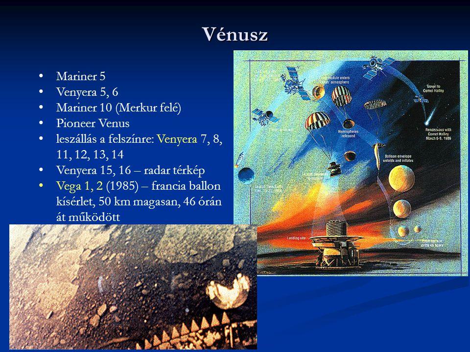 Vénusz Mariner 5 Venyera 5, 6 Mariner 10 (Merkur felé) Pioneer Venus leszállás a felszínre: Venyera 7, 8, 11, 12, 13, 14 Venyera 15, 16 – radar térkép