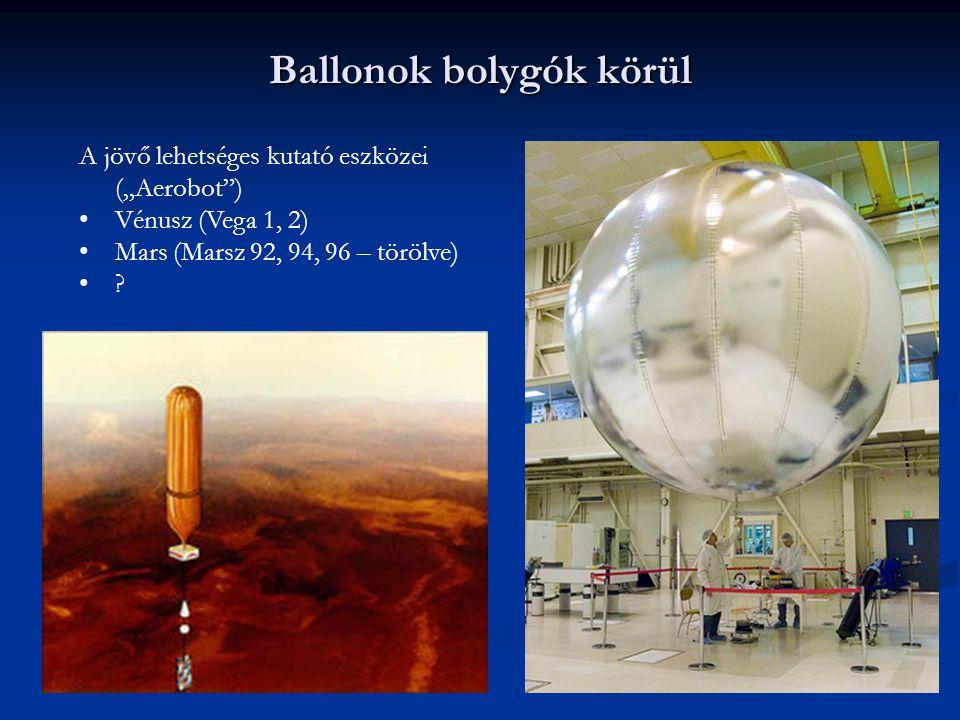 """Ballonok bolygók körül A jövő lehetséges kutató eszközei (""""Aerobot"""") Vénusz (Vega 1, 2) Mars (Marsz 92, 94, 96 – törölve) ?"""
