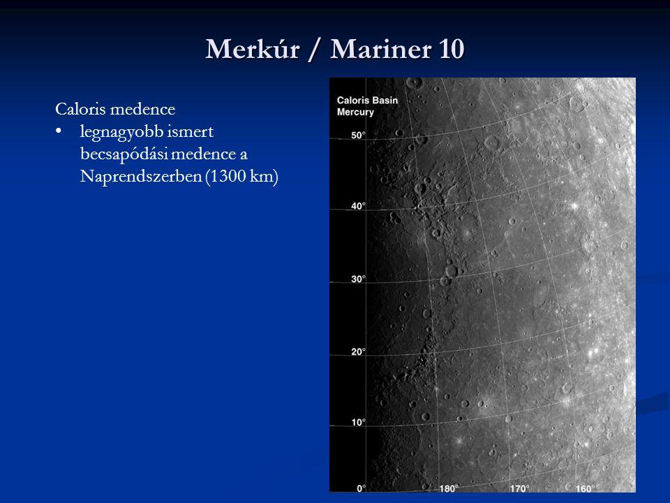 Merkúr / Mariner 10 Caloris medence legnagyobb ismert becsapódási medence a Naprendszerben (1300 km)