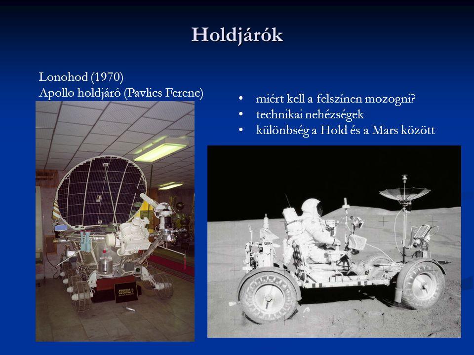 Holdjárók Lonohod (1970) Apollo holdjáró (Pavlics Ferenc) miért kell a felszínen mozogni? technikai nehézségek különbség a Hold és a Mars között