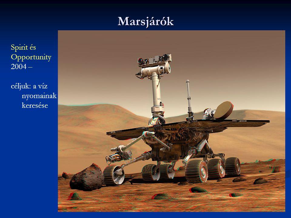 Marsjárók Spirit és Opportunity 2004 – céljuk: a víz nyomainak keresése