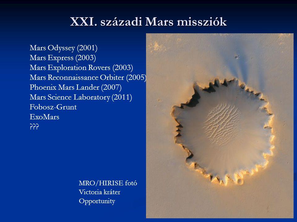 XXI. századi Mars missziók Mars Odyssey (2001) Mars Express (2003) Mars Exploration Rovers (2003) Mars Reconnaissance Orbiter (2005) Phoenix Mars Land