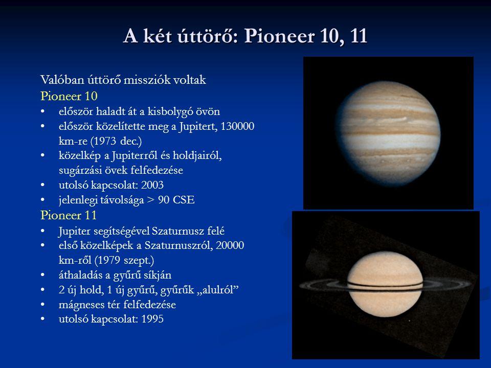 Valóban úttörő missziók voltak Pioneer 10 először haladt át a kisbolygó övön először közelítette meg a Jupitert, 130000 km-re (1973 dec.) közelkép a J