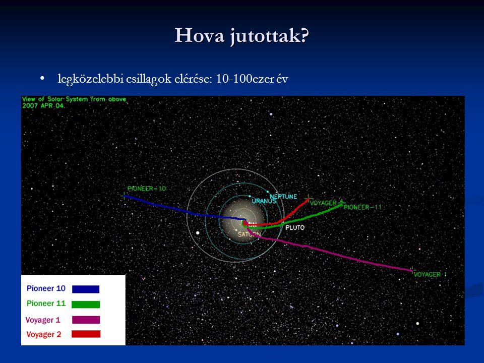 Hova jutottak? legközelebbi csillagok elérése: 10-100ezer év