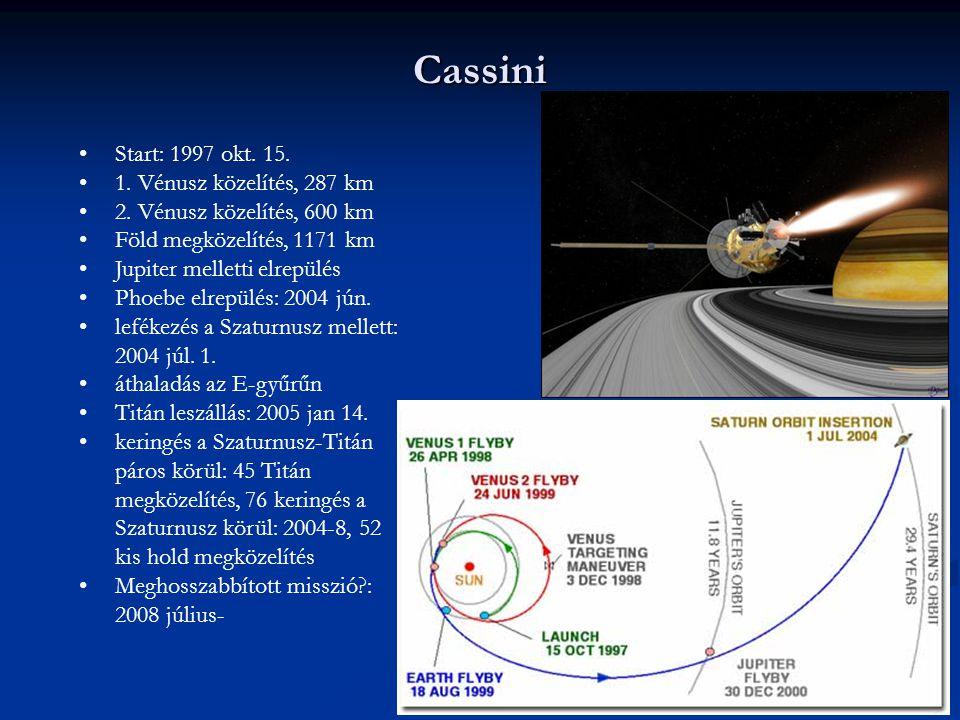 Cassini Start: 1997 okt. 15. 1. Vénusz közelítés, 287 km 2. Vénusz közelítés, 600 km Föld megközelítés, 1171 km Jupiter melletti elrepülés Phoebe elre