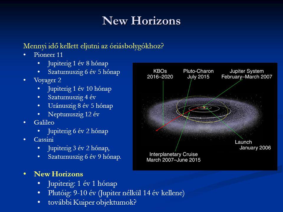New Horizons Mennyi idő kellett eljutni az óriásbolygókhoz? Pioneer 11 Jupiterig 1 év 8 hónap Szaturnuszig 6 év 5 hónap Voyager 2 Jupiterig 1 év 10 hó
