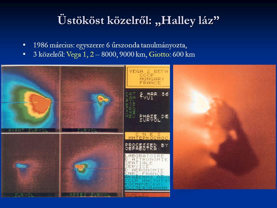 """Üstököst közelről: """"Halley láz"""" 1986 március: egyszerre 6 űrszonda tanulmányozta, 3 közelről: Vega 1, 2 – 8000, 9000 km, Giotto: 600 km"""