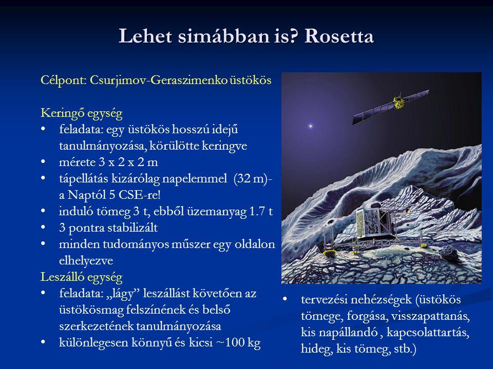 Lehet simábban is? Rosetta Célpont: Csurjimov-Geraszimenko üstökös Keringő egység feladata: egy üstökös hosszú idejű tanulmányozása, körülötte keringv