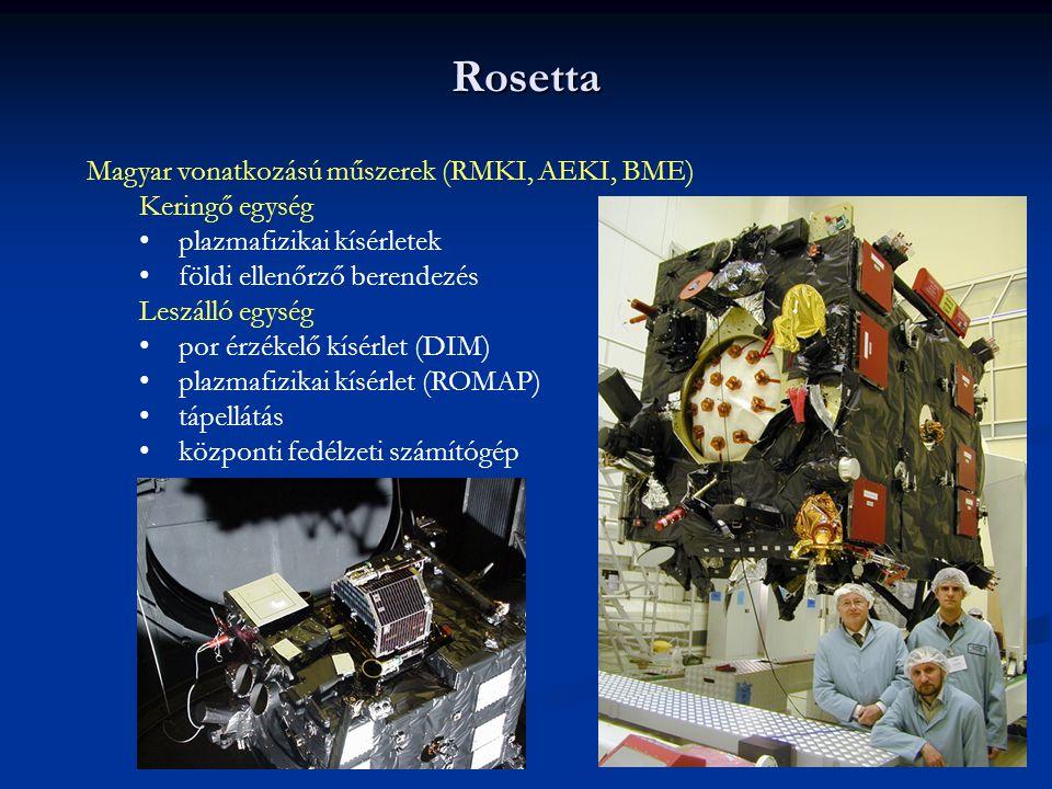 Rosetta Magyar vonatkozású műszerek (RMKI, AEKI, BME) Keringő egység plazmafizikai kísérletek földi ellenőrző berendezés Leszálló egység por érzékelő