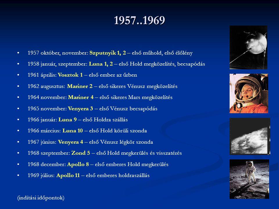 1957..1969 1957 október, november: Szputnyik 1, 2 – első műhold, első élőlény 1958 január, szeptember: Luna 1, 2 – első Hold megközelítés, becsapódás