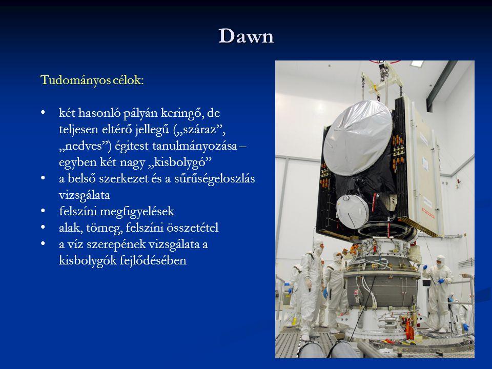 """Dawn Tudományos célok: két hasonló pályán keringő, de teljesen eltérő jellegű (""""száraz"""", """"nedves"""") égitest tanulmányozása – egyben két nagy """"kisbolygó"""