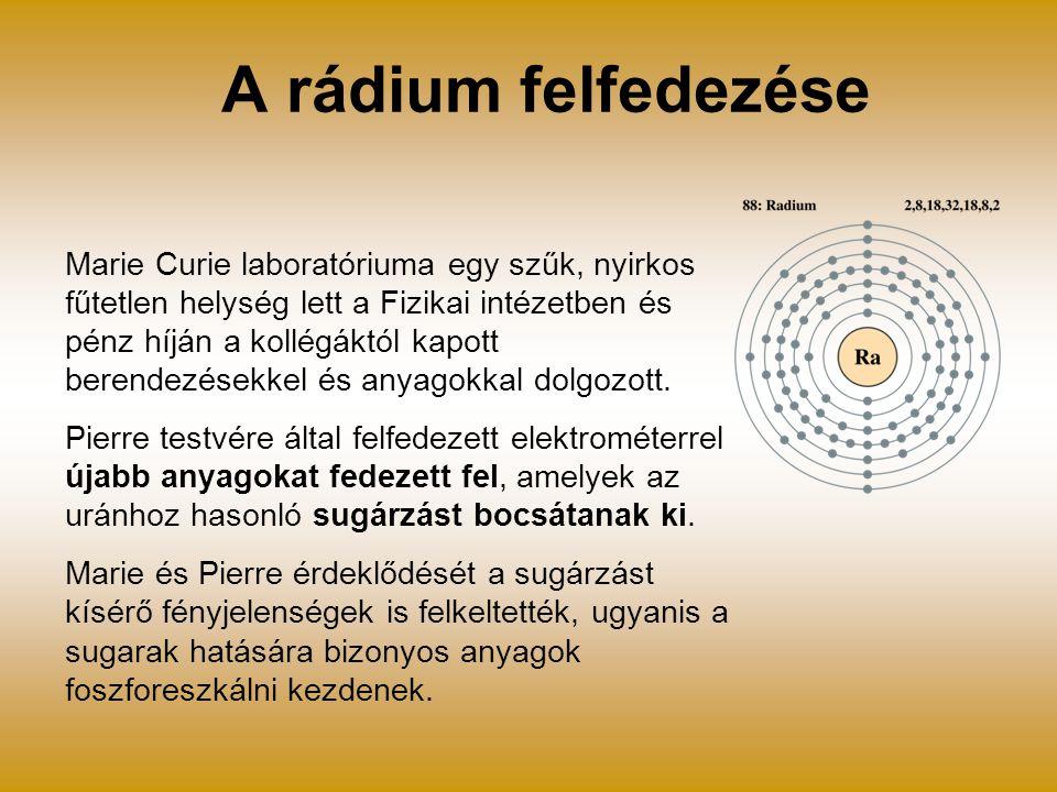 A rádium felfedezése Marie Curie laboratóriuma egy szűk, nyirkos fűtetlen helység lett a Fizikai intézetben és pénz híján a kollégáktól kapott berende