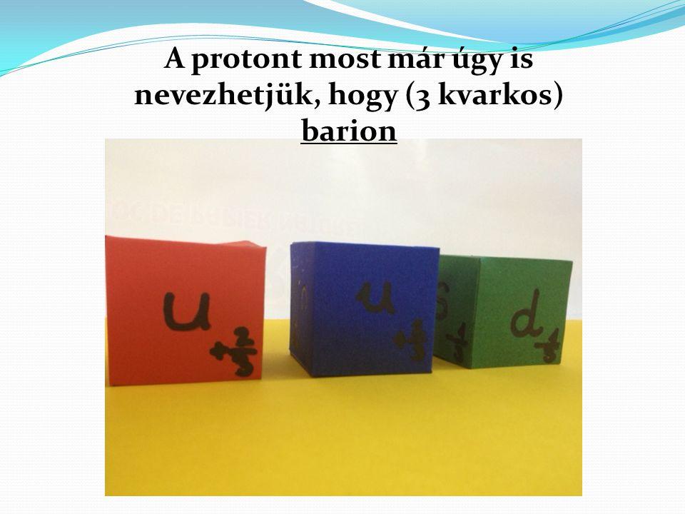 A protont most már úgy is nevezhetjük, hogy (3 kvarkos) barion