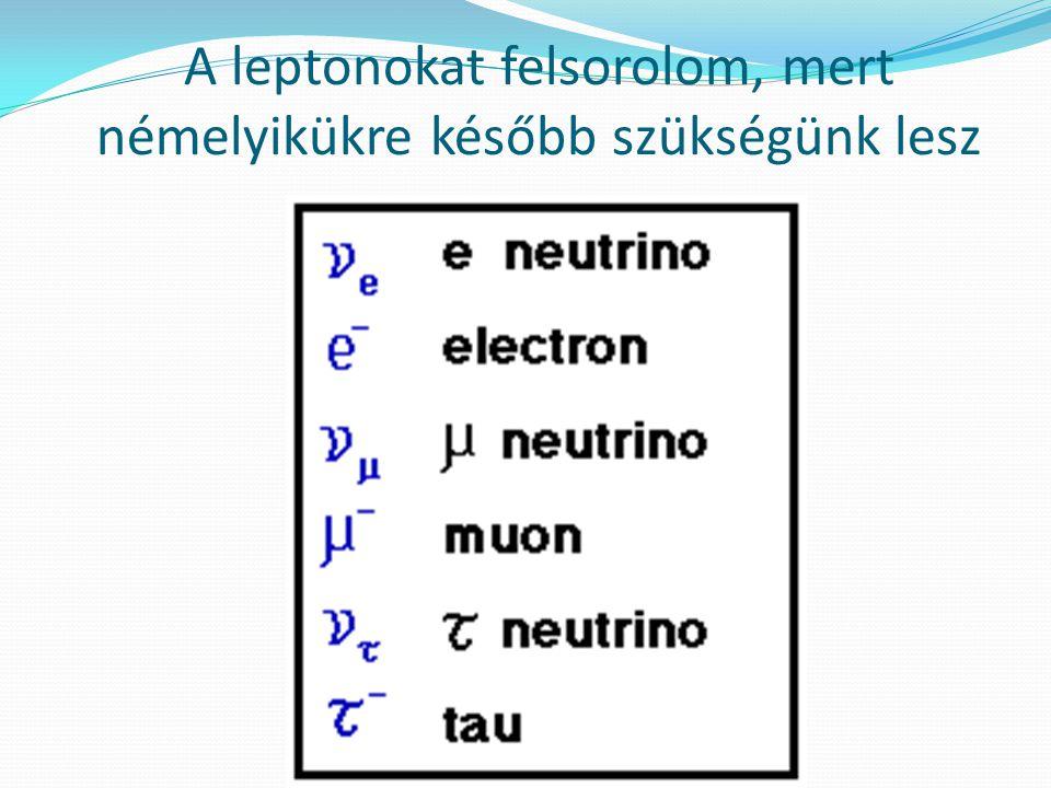 A leptonokat felsorolom, mert némelyikükre később szükségünk lesz