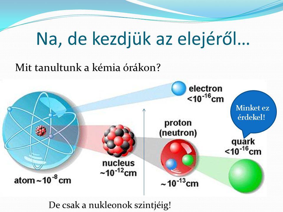Na, de kezdjük az elejéről… Mit tanultunk a kémia órákon? De csak a nukleonok szintjéig! Minket ez érdekel!
