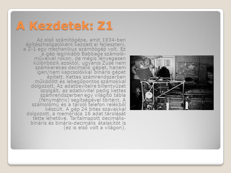A Kezdetek: Z1 Az első számítógépe, amit 1934-ben építészhallgatóként kezdett el fejleszteni, a Z-1 egy mechanikus számítógép volt.
