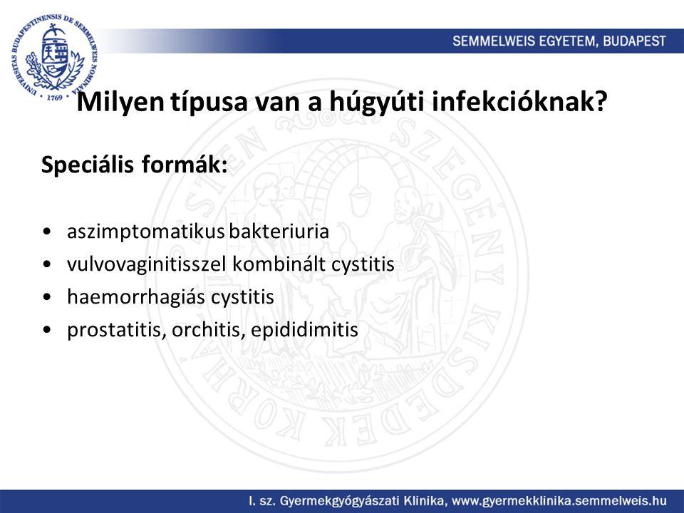 Milyen típusa van a húgyúti infekcióknak? Speciális formák: aszimptomatikus bakteriuria vulvovaginitisszel kombinált cystitis haemorrhagiás cystitis p