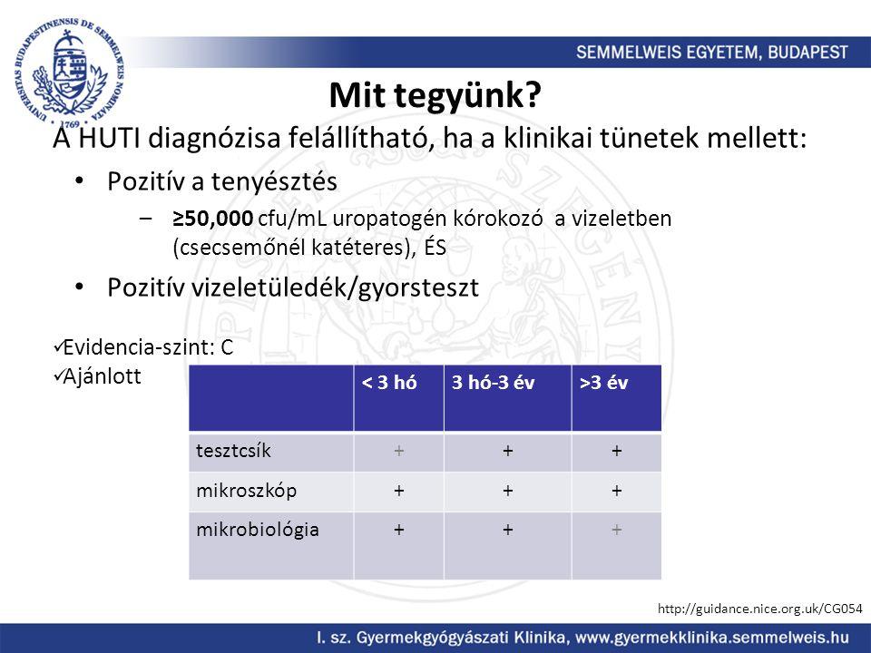Mit tegyünk? A HUTI diagnózisa felállítható, ha a klinikai tünetek mellett: Pozitív a tenyésztés –≥50,000 cfu/mL uropatogén kórokozó a vizeletben (cse