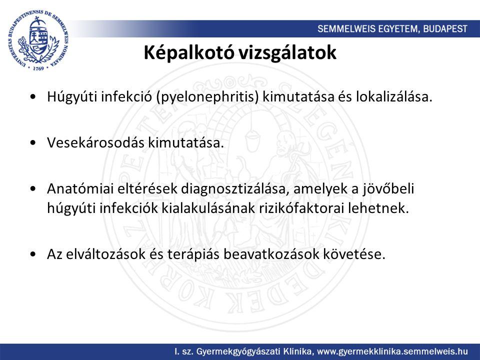 Képalkotó vizsgálatok Húgyúti infekció (pyelonephritis) kimutatása és lokalizálása. Vesekárosodás kimutatása. Anatómiai eltérések diagnosztizálása, am