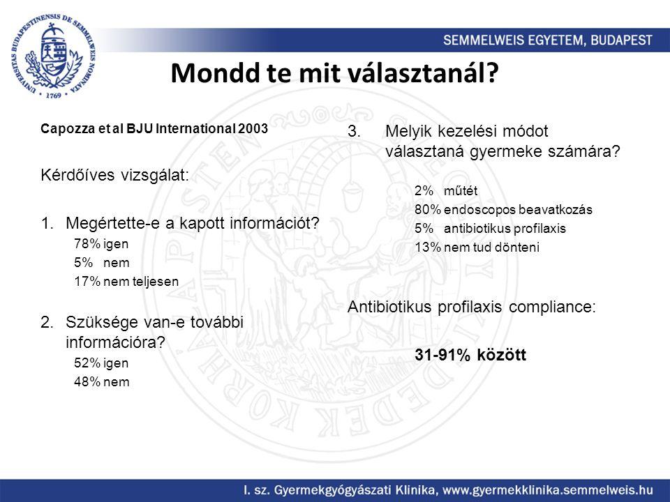 Mondd te mit választanál? Capozza et al BJU International 2003 Kérdőíves vizsgálat: 1.Megértette-e a kapott információt? 78% igen 5% nem 17% nem telje