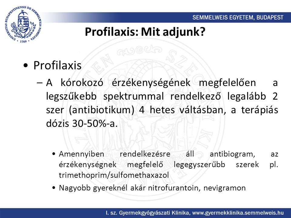 Profilaxis: Mit adjunk? Profilaxis –A kórokozó érzékenységének megfelelően a legszűkebb spektrummal rendelkező legalább 2 szer (antibiotikum) 4 hetes