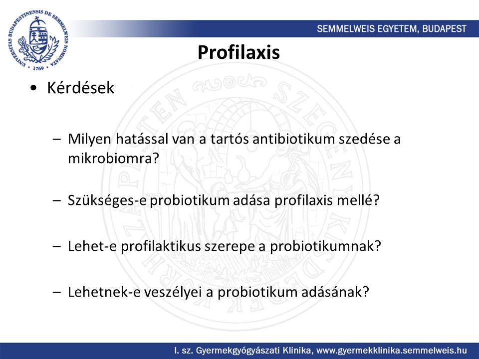 Profilaxis Kérdések –Milyen hatással van a tartós antibiotikum szedése a mikrobiomra? –Szükséges-e probiotikum adása profilaxis mellé? –Lehet-e profil
