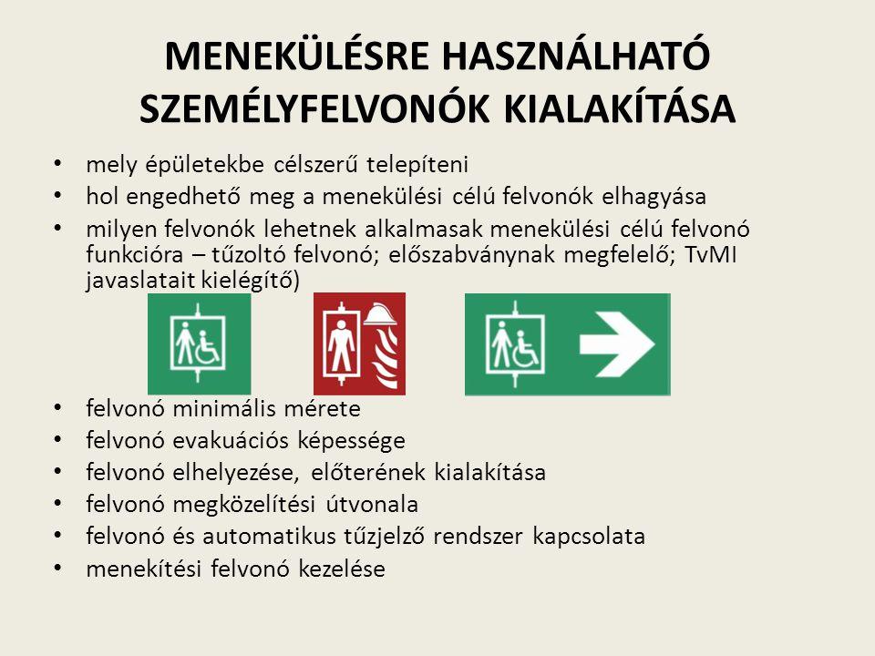 MENEKÜLÉSRE HASZNÁLHATÓ SZEMÉLYFELVONÓK KIALAKÍTÁSA mely épületekbe célszerű telepíteni hol engedhető meg a menekülési célú felvonók elhagyása milyen felvonók lehetnek alkalmasak menekülési célú felvonó funkcióra – tűzoltó felvonó; előszabványnak megfelelő; TvMI javaslatait kielégítő) felvonó minimális mérete felvonó evakuációs képessége felvonó elhelyezése, előterének kialakítása felvonó megközelítési útvonala felvonó és automatikus tűzjelző rendszer kapcsolata menekítési felvonó kezelése