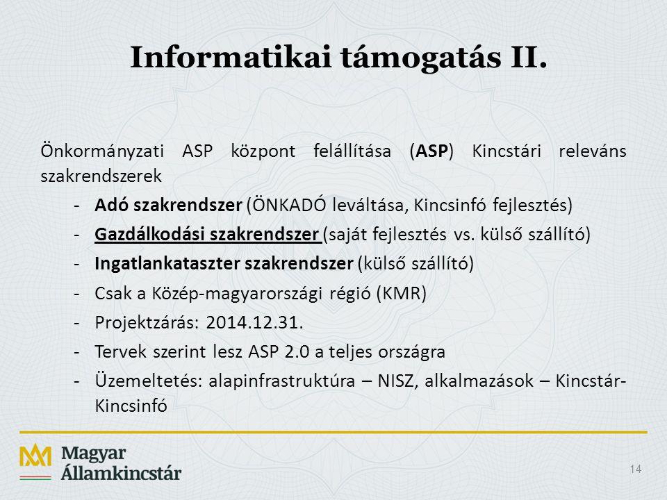 14 Informatikai támogatás II. Önkormányzati ASP központ felállítása (ASP) Kincstári releváns szakrendszerek -Adó szakrendszer (ÖNKADÓ leváltása, Kincs