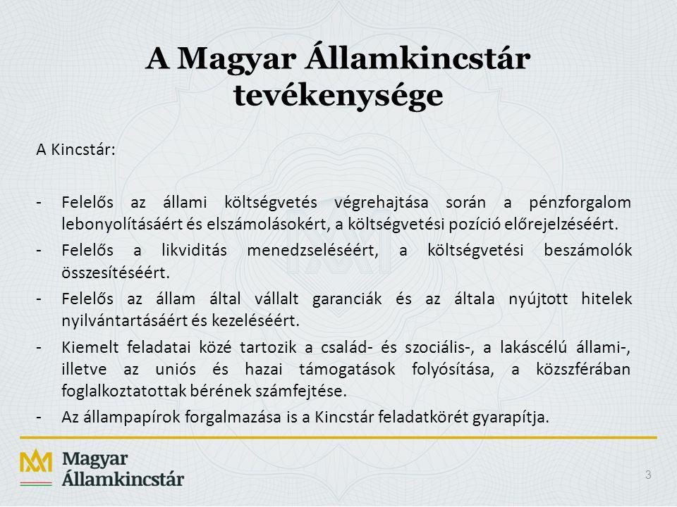A Magyar Államkincstár tevékenysége A Kincstár: -Felelős az állami költségvetés végrehajtása során a pénzforgalom lebonyolításáért és elszámolásokért,