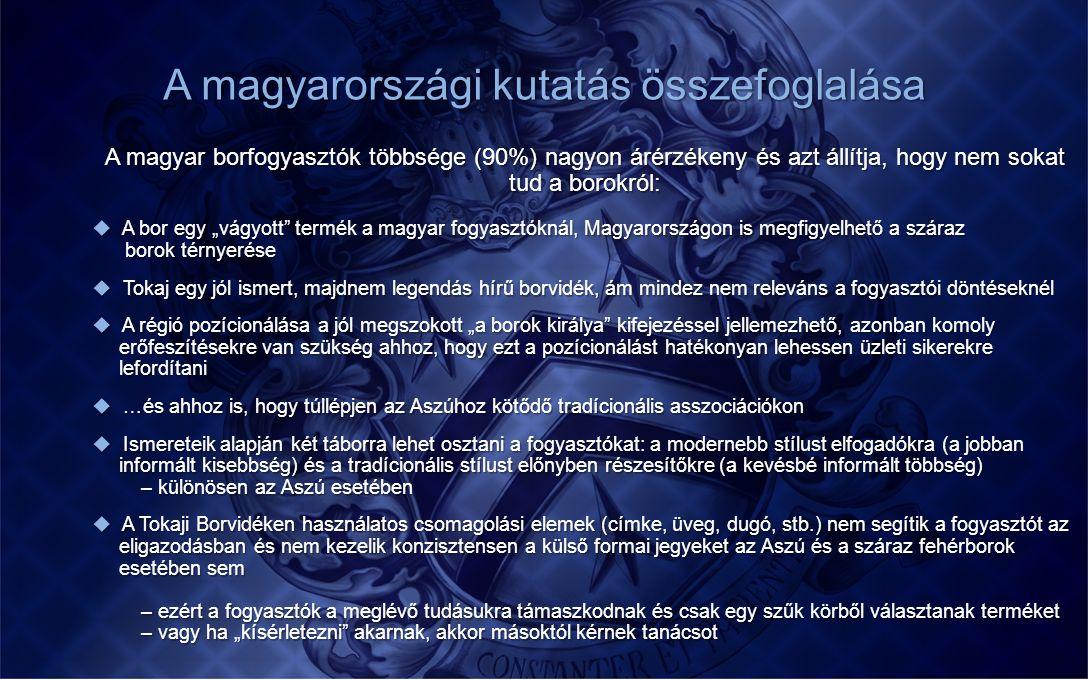 A magyarországi kutatás összefoglalása A magyar borfogyasztók többsége (90%) nagyon árérzékeny és azt állítja, hogy nem sokat tud a borokról:  A bor