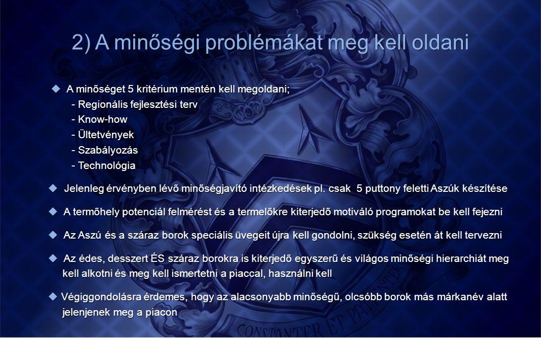 2) A minőségi problémákat meg kell oldani  A minőséget 5 kritérium mentén kell megoldani;  A minőséget 5 kritérium mentén kell megoldani; - Regionál